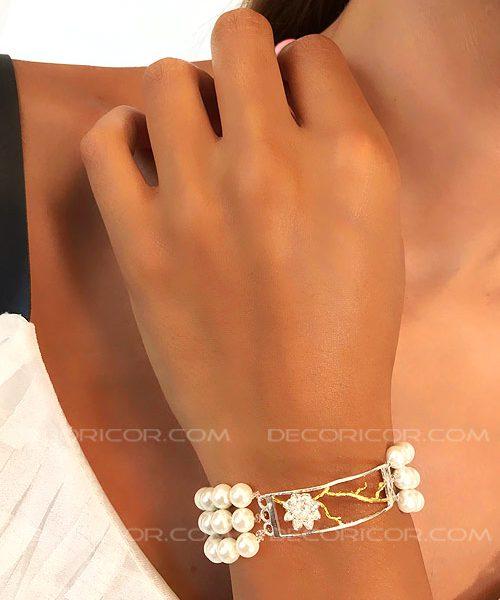 دستبند نیلوفر و مروارید