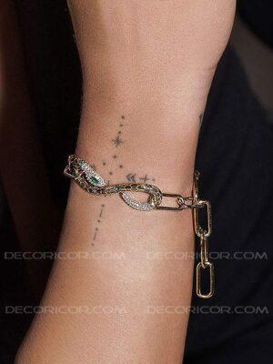 دستبند نقره مار سبز