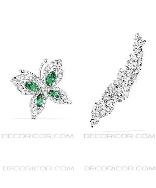 گوشواره نامتقارن پروانه سبز