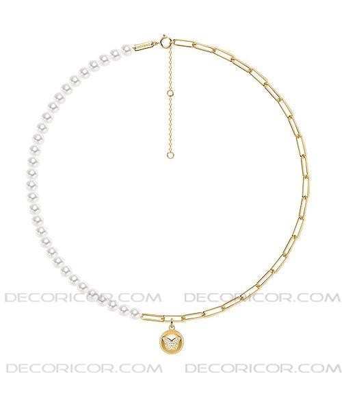 گردنبند زنجیر طلایی و مروارید
