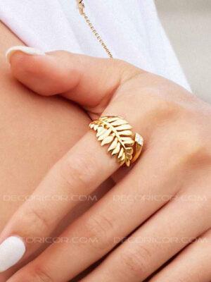 انگشتر برگ رومی طلایی