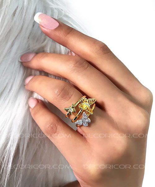 انگشتر 3تکه پروانه