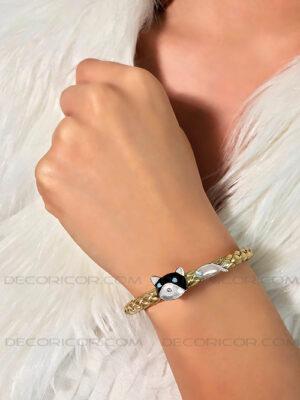 دستبند چرم طلایی